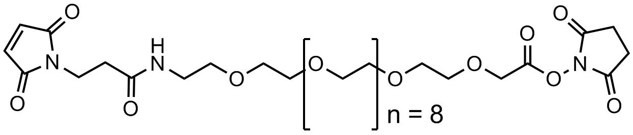 3`-马来酰亚胺基丙酰氨基-十二聚乙二醇-乙酸琥珀酰亚胺酯聚合物
