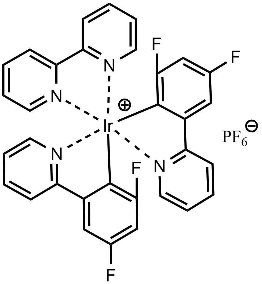 (2,2'-Bipyridine)bis[2-(2,4-difluorophenyl)pyridine]iridium(III) Hexafluorophosphate  (2,2'-联吡啶)双[2-(2,4-二氟苯基)吡啶]铱(III) 六氟磷酸盐