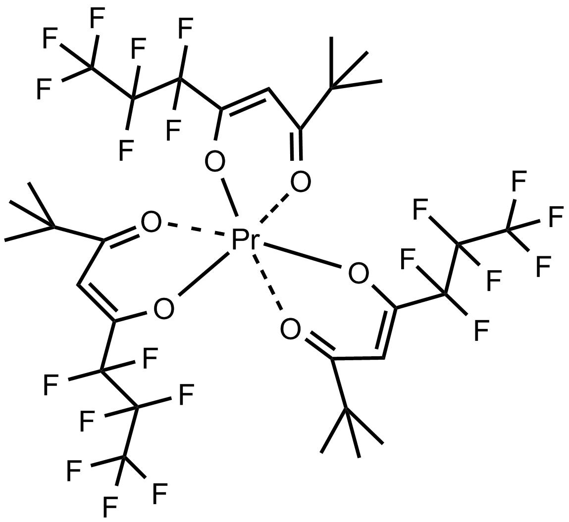 Tris(6,6,7,7,8,8,8-heptafluoro-2,2-dimethyl-3,5-octanedionato)praseodymium(III) [NMR Shift Reagent] 三(6,6,7,7,8,8,8-七氟-2,2-二甲基-3,5-辛二酮基)镨(Ⅲ)[核磁共振位移试剂]
